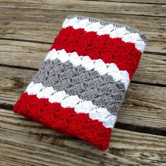 Ohio State Striped Crochet Blanket  Knit by scarletngreycrochet