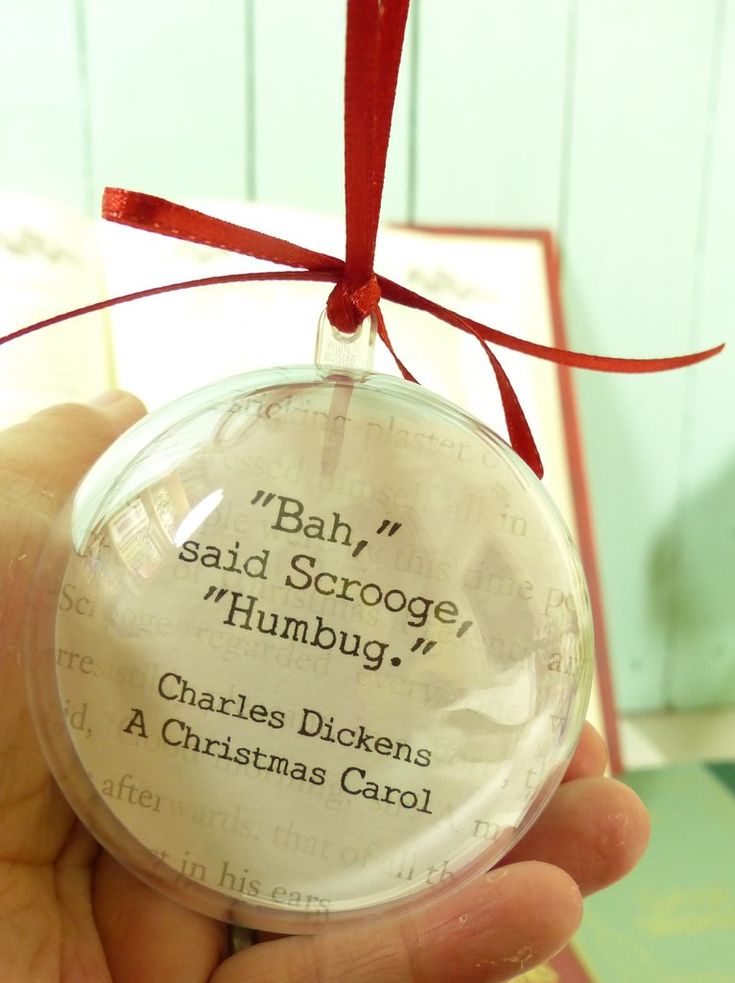 A Christmas Carol Bauble Charles Dickens quote Bah Humbug bauble #Book-flowers #Quote-Bauble