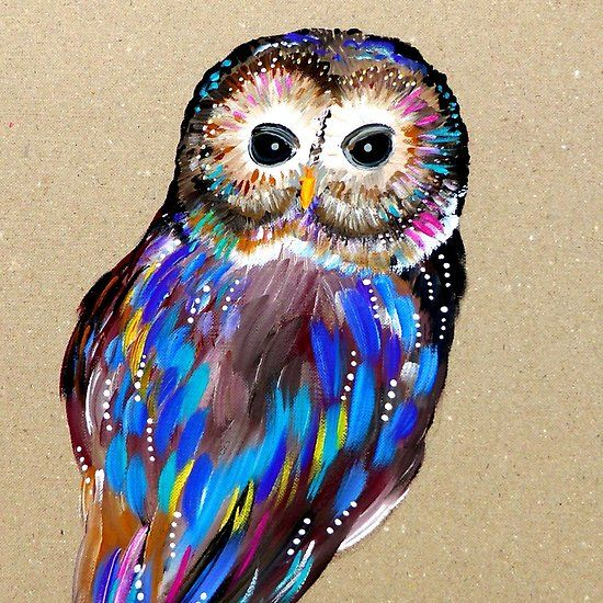 Striking Owl , painted by hand on box-board!  painting by RomancingHer.etsy.com  - rainbow owl painting  with lots of colours  colorful owl painting
