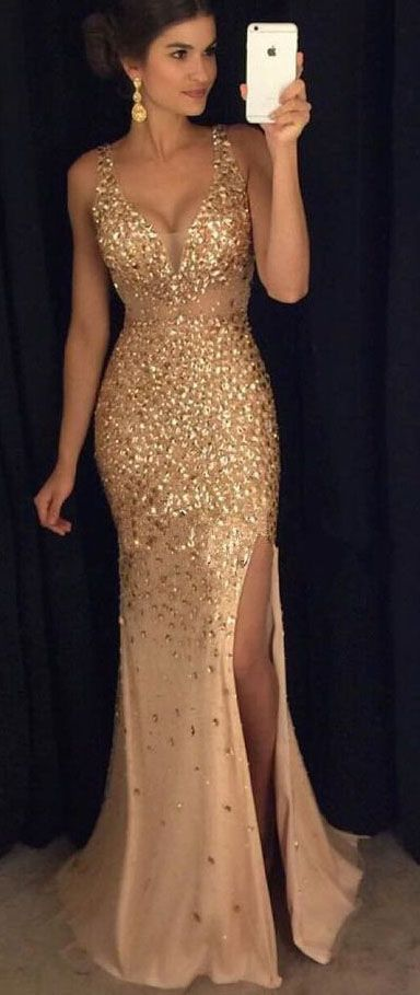 Beading Gold prom dress,Long Prom Dresses,Sexy Long Crystal Beaded Prom Dress With Slit, Mermaid Prom Dresses Evening Gown,prom dresses