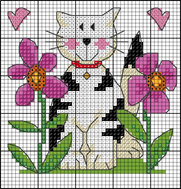 Cat with flowers cross stitch chart