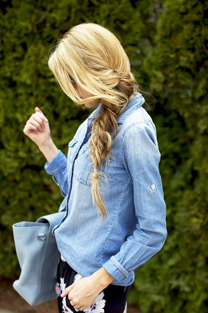 chambray with printed pants, and cute fishtail braid too