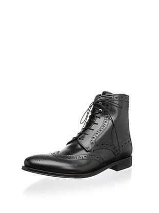 74% OFF Antonio Maurizi Men's Burnished Medallion Wingtip Boot (Black)
