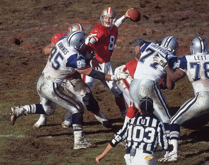 Steve Young looks to pass during the NFC Championship game between the San Francisco 49ers and Dallas Cowboys on Jan. 15, 1995 at Candlestick Park in San Francisco. Young was named the NFL's MVP in 1992 and '94, and was the MVP of Super Bowl XXIX....
