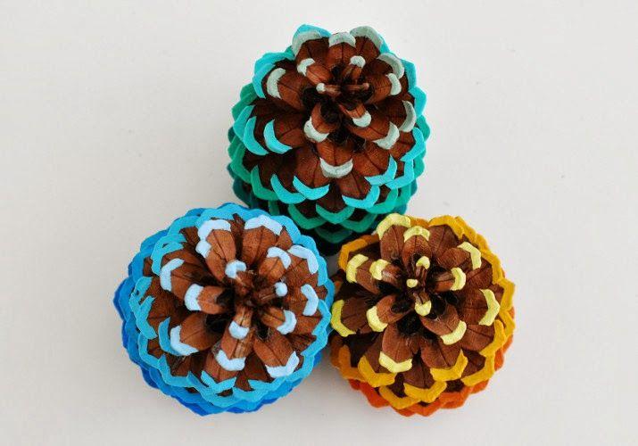 Painted pinecones. #crafts #kids