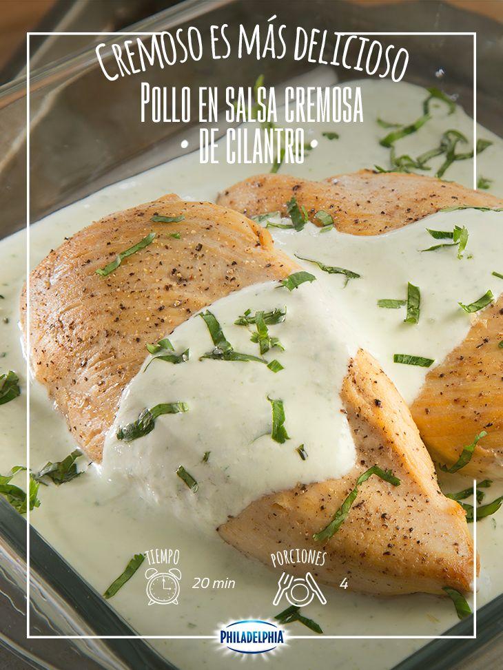POLLO EN SALSA CREMOSA DE CILANTRO -  Inicia la semana con este Pollo en salsa cremosa de cilantro, ¡te encnatará!