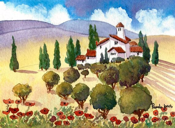 Original Watercolour Painting Tuscany by Pamelajonesartstudio
