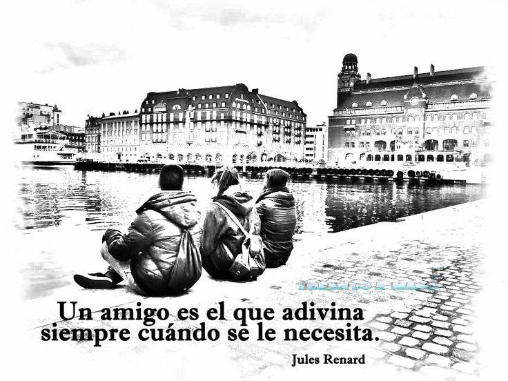 """#photos #PENSAMIENTO #POSITIVOS DE AMISTAD  """"Un amigo es el que adivina siempre cuándo se le necesita."""" frase de Jules Renard  imagen de Ideandoamano.com"""