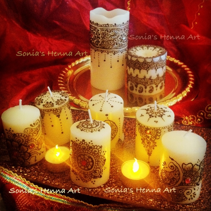 Mehndi candles for decor by Sonia's Henna Art