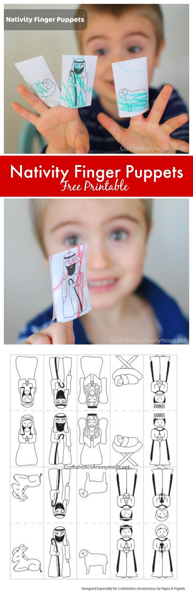 Christmas Nativity Finger Puppets - Free printable. Great Christmas craft idea for kids and preschoolers!