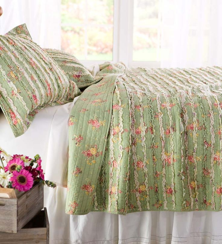 Charlotte Cotton Ruffled Pastel Floral Quilt Set In Pretty