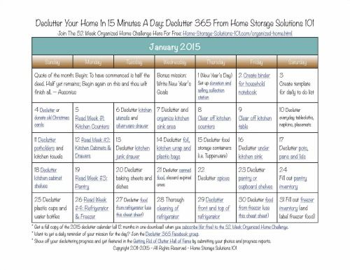 Here's the January 2015 declutter calendar with a daily 15 minute decluttering and organizing mission for each day of the month. Also includes a printable calendar.