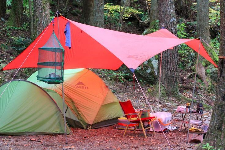 "Hilleberg ""Tarp 10 UL"" with MSR ""Hubba Hubba Tent and Gear Shed"""