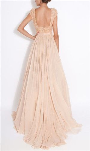 peach colored wedding dress