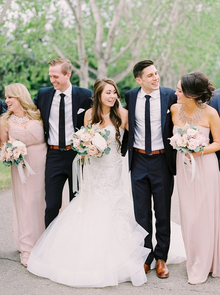 calgary wedding photographers blush and navy bridal party