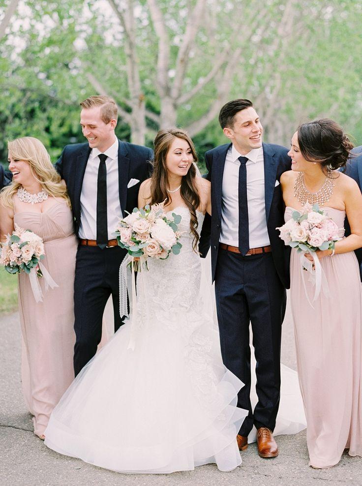 calgary wedding photographers blush and navy bridal party