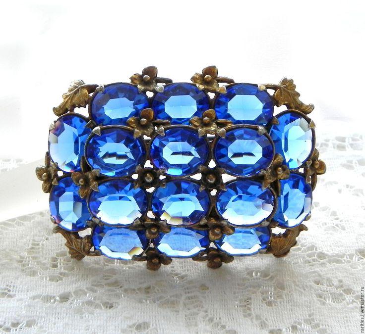 Купить Брошь Небесная синева,антикварная брошка,цветы,цветочки,синяя,синее - винтажные украшения