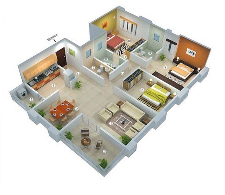50 Desain Rumah Minimalis Sederhana 3 Kamar Tidur 3d House Plans