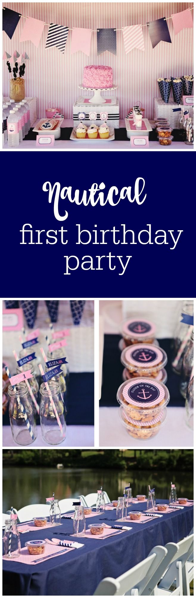 Nautical first birthday party by Sweet Peach Paperie featured on The Party Teacher