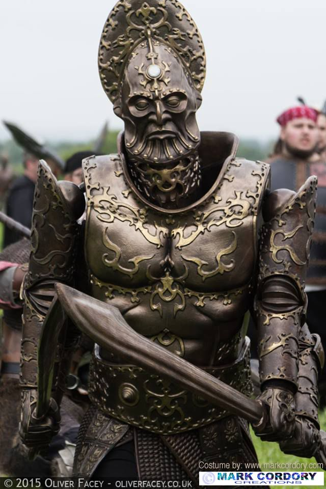 'Bronze Titan' monster costume at Empire LARP UK created by Mark Cordory Creations. Photograph © & courtesy of Oliver Facey www.markcordory.com