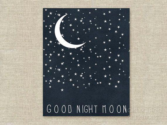 Good Night Moon Star Typography Poster - Dark Navy Blue Digital Art Print - Celestial Boys Wall Art Nursery