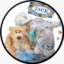 The miracle of life celebrated beautifully in this Oh Boy! Little Miracle Baby Boy Gift Basket. This adorable basket includes teddy bear themed clothing made from 100% cotton, with a 12 inch Plush Polar Teddy bear and baby bottle.  http://www.babygiftemporium.com/babygiftbaskets.html