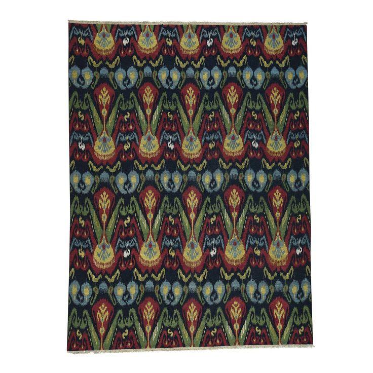 Shahbanu Rugs Hand-woven Ikat Design Multicolor Wool Soumak Double Weft Oriental Rug (8'10 x 11'10) (Black)