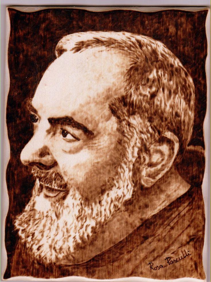 """""""Padre Pio"""" pirografia su legno"""