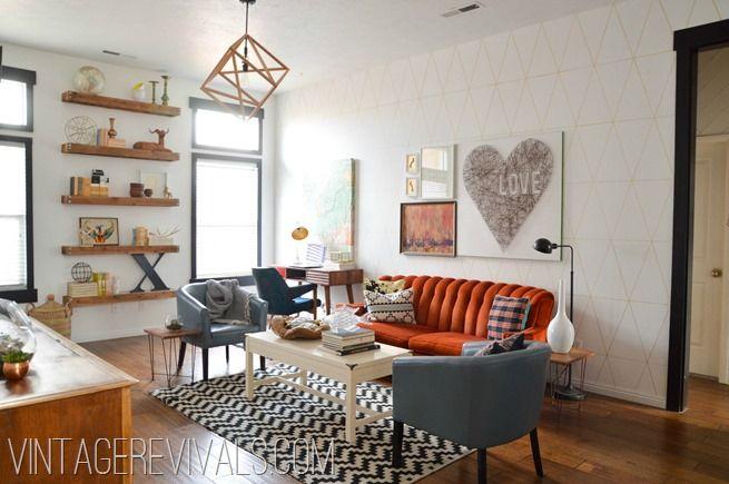 Stunning #DIY Living Room Makeover {before & after) via @VintageRivals @Mandi Gubler