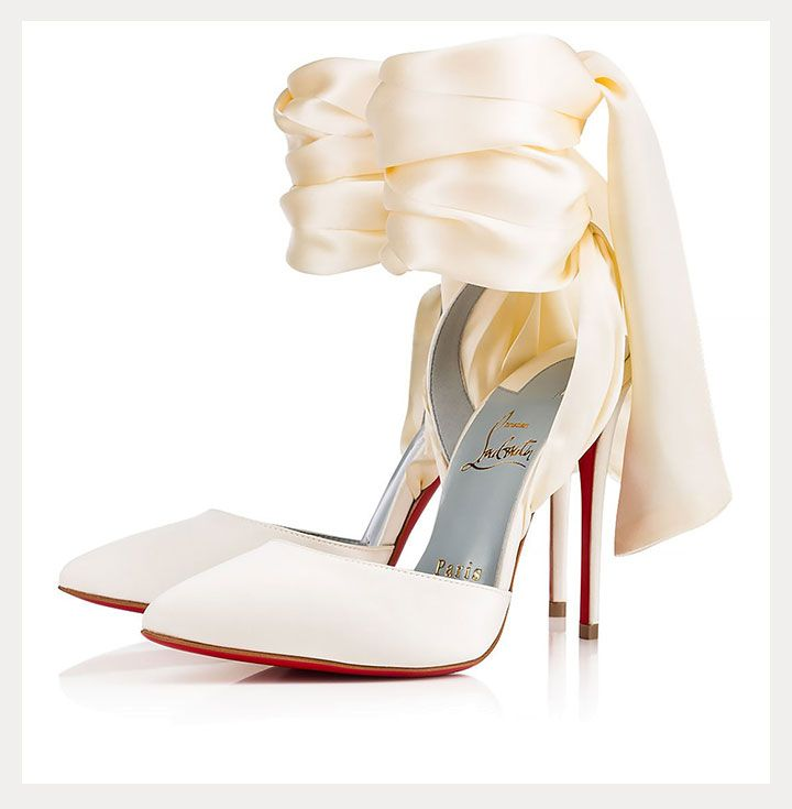 4c19775b2afa Spectacular Satin Ankle Wrap Pumps for the Sophisticated Bride ~ Christian  Louboutin s Douce Du Desert off white crepe satin d Orsay pump with lace-up  ...