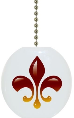Red-Yellow-Fleur-de-Lis-Solid-CERAMIC-Ceiling-Fan-Light-Lamp-Pull