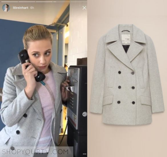 775de17b904098 Betty Cooper (Lili Reinhart) wears this grey button front coat in this  episode of Riverdale in Season 2. It is the Aritzia  ...