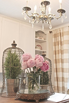 champagne check silk drapes and pink peonies.