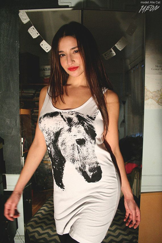 Spring fashion Horse tank dress long tank top white long by 1AEON