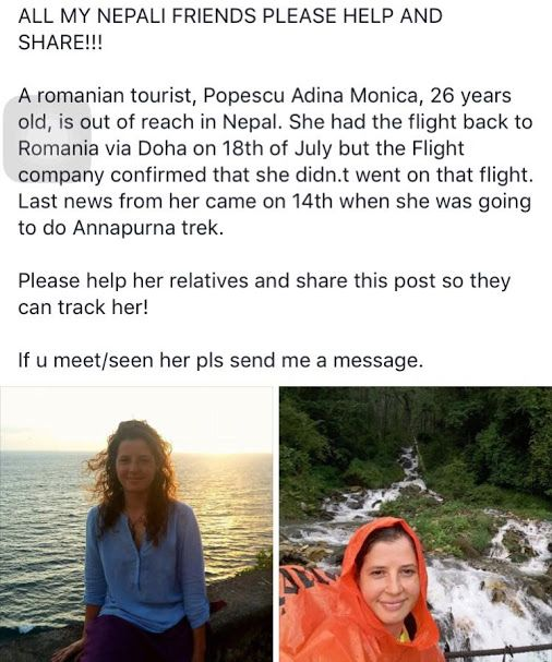 #ClearSkyTreks : News of the day   Adina from Romania  is missing since the 14th of July in the Annapurna Conservation Area. She started the trek towards Phedi on the 12th of June  by her self when she sent us these images by her family:   The last time they heard from her is when she sent us an SMS on the 16th of July. She was supposed ...if someone see her recently then please contact to nearest police station or call on +977-9851040420. thank you.