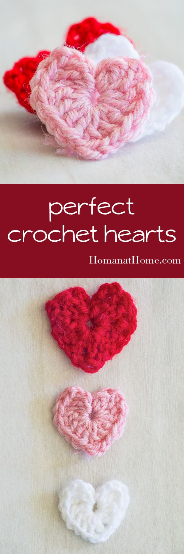 You only need a scrap of yarn and five minutes to make perfect little crocheted hearts. The pattern is versatile and can be made in any size you'd like!