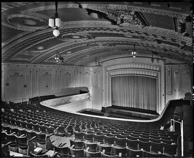 Barkly Theatre, Footscray View from balcony down to curtained screen, showing seating, stage and ornate, arched ceiling.