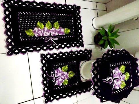 Tapete do Vaso - Jogo de Banheiro Preto e Lilás - YouTube