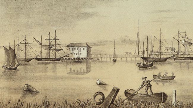 Dock workers at Port Adelaide, from a sketch by F.R. Nixon