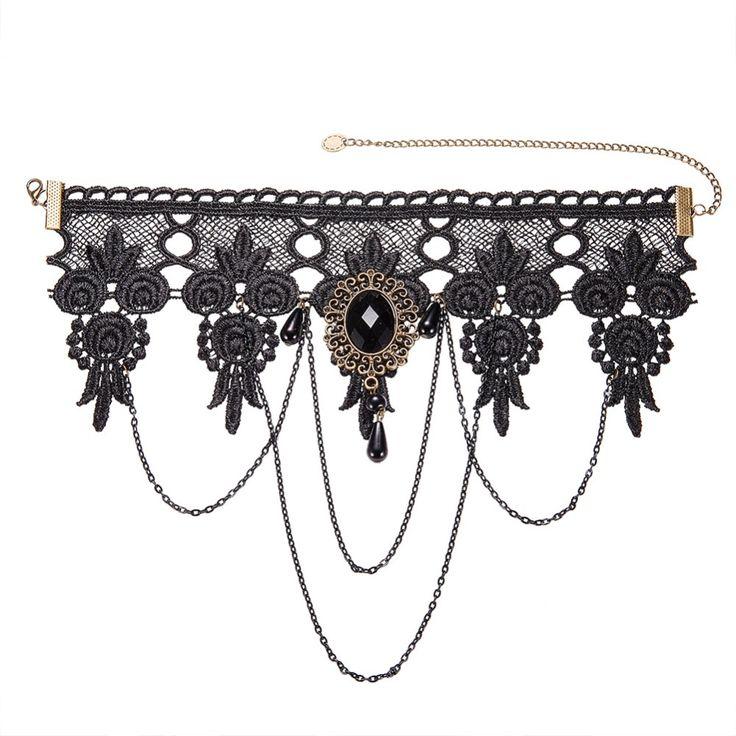 2017 mode tato rumbai punk gaya gothic choker kalung antik renda liontin pernikahan perhiasan wanita kerah palsu pernyataan