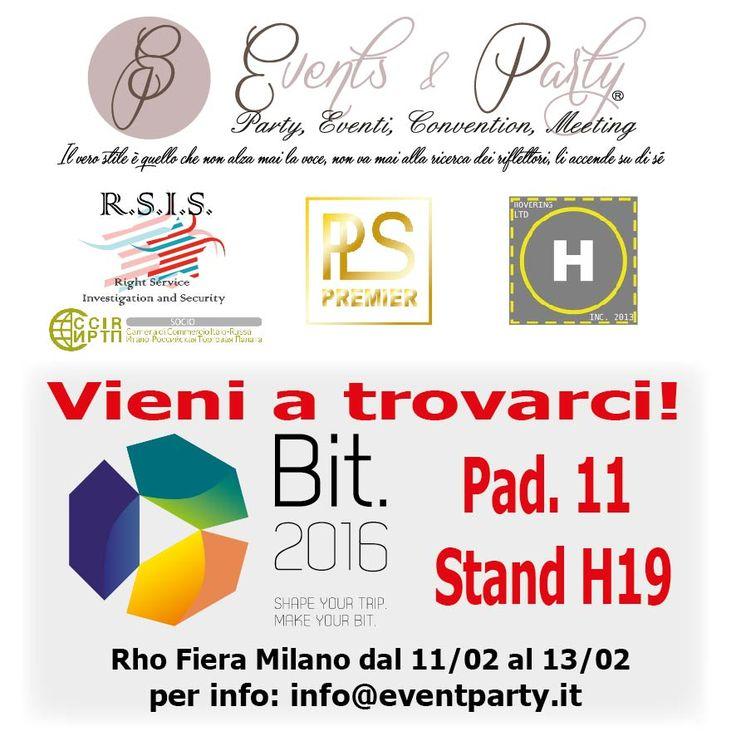 Vieni a trovarci in BIT a RHO Fiera Milano nel link trovi le informazioni  http://www.eventparty.it/2016/01/20/bit-2016-borsa-internazionale-del-turismo/