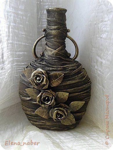 Декор предметов Моделирование конструирование декор бутылочки Бутылки стеклянные Ткань Фарфор холодный фото 1