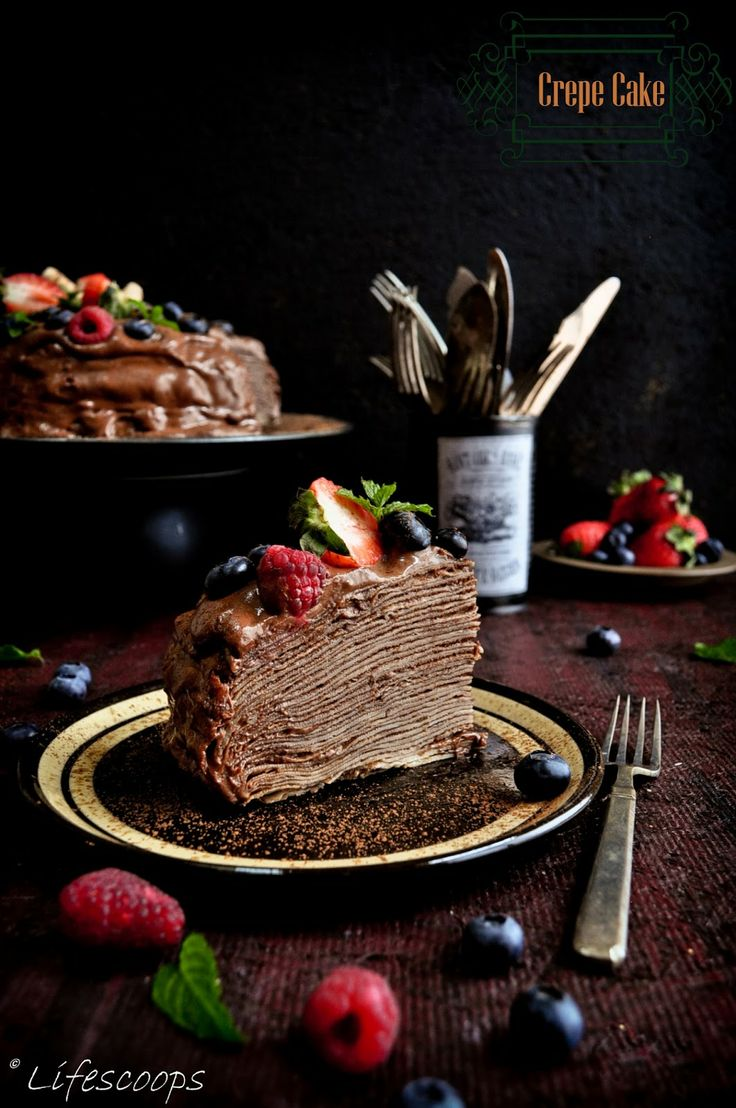 Life Scoops: Crepe Cake with Blackberry Schnapps Chocolate Mousse
