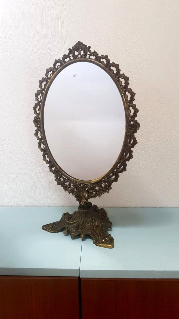 Vintage Vanity Mirror Brass Oval Table Mirror With Stand Home