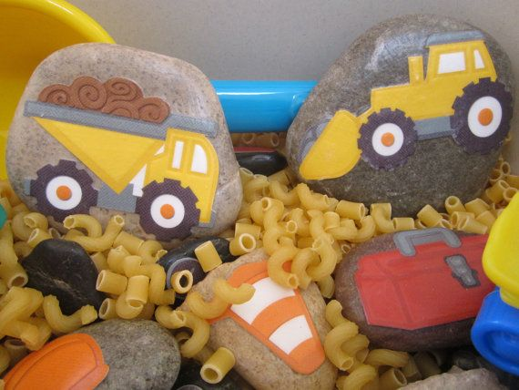 construction story stones...change idea...cheerios safe for eating, and sanitized toy cars and trucks