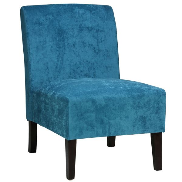 Cortesi Home Chicco Blue Armless Accent Chair Chicco Blue Armless Accent Chair Microfiber Transitional Chairsliving Room