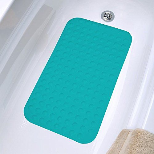 Bath Mat Non Slip Suction 100 Rubber 28x16 Teal By Sultans Linens ** Details can be found by clicking on the image.