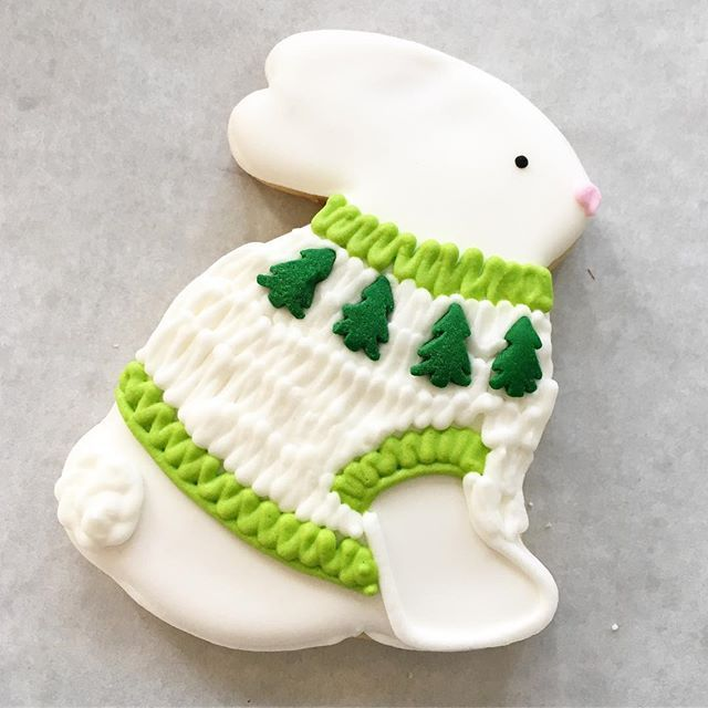 Snow bunny in a sweater ❄️ Cute cookies in the shop while they last! #whippedbakeshop #fishtown #19125 #fishtown_philly #decoratedcookies #uglysweater #christmascookies #holidaycookies #stockingstuffer