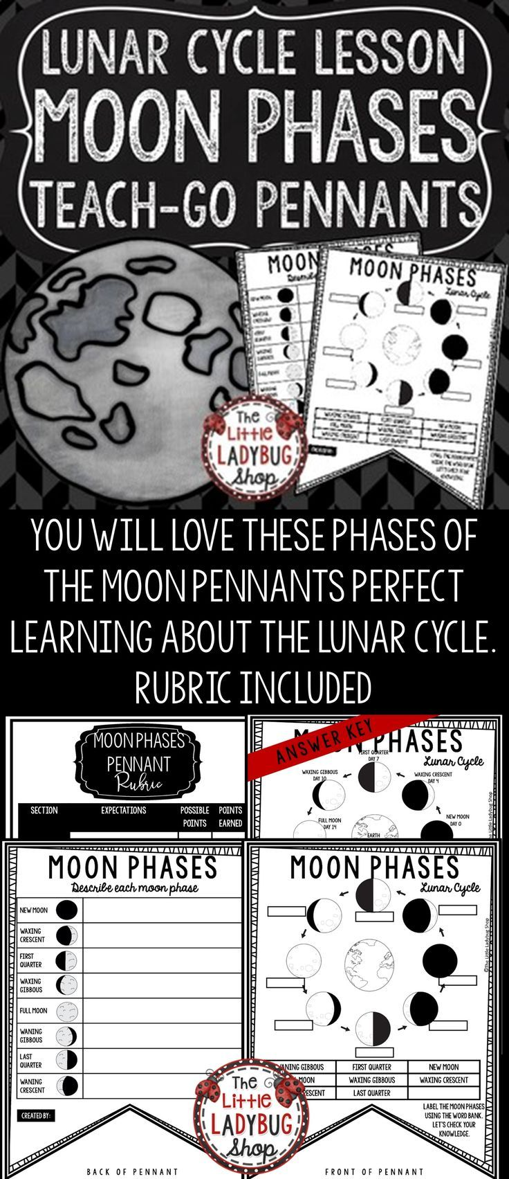 Lunar Cycle Moon Phases Activity Teach Go Pennants Moon Phases Worksheet Moon Phases Activities Moon Phases Upper Elementary Science [ 1703 x 736 Pixel ]