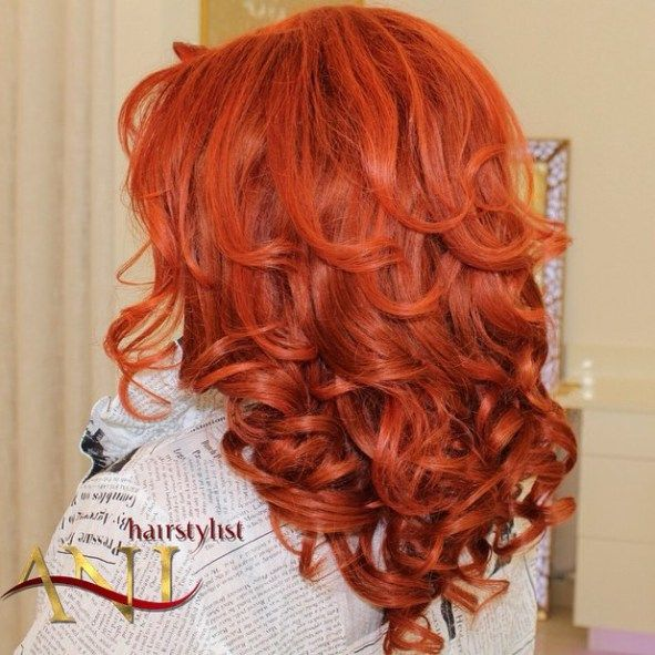 Medium Red Curly Hairstyle